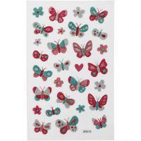 Glitterstickers, sommerfugle, 10x16 cm, 1 ark