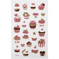 Glitterstickers, muffins, 10x16 cm, 1 ark