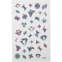 Glitterstickers, diamanter, 10x16 cm, 1 ark