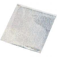 Dekorationsfolie, 10x10 cm, sølv, 30 ark/ 1 pk.