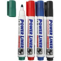 Whiteboardmarker, streg 4 mm, sort, blå, grøn, rød, 4 stk./ 1 pk.