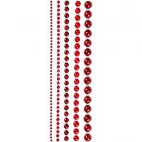 Halv-perler, str. 2-8 mm, rød, 140 stk./ 1 pk.
