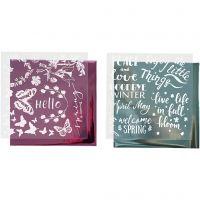 Dekorationsfolie og design limark, forår, 15x15 cm, lyseblå, pink, 2x2 ark/ 1 pk.