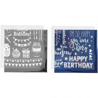 Dekorationsfolie og design limark, fødselsdag, 15x15 cm, mørk blå, sølv, 2x2 ark/ 1 pk.