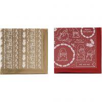 Dekorationsfolie og design limark, Traditionel jul, 15x15 cm, guld, rød, 2x2 ark/ 1 pk.