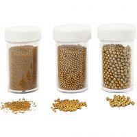 Mini glaskugler , str. 0,6-0,8+1,5-2+3 mm, guld, 3x45 g/ 1 pk.