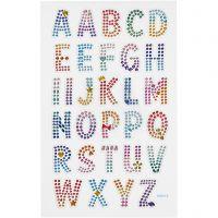 Diamond stickers, alfabet, 10x16 cm, 1 ark