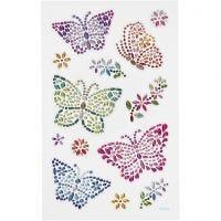 Diamond stickers, sommerfugle, 10x16 cm, 1 ark
