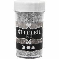 Glitter, sølv, 20 g/ 1 ds.