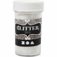 Glitter, hvid, 20 g/ 1 ds.