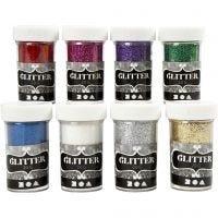Glitter, ass. farver, 8x20 g/ 1 pk.
