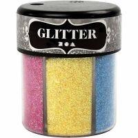 Glitter, ass. farver, 6x13 g/ 1 ds.