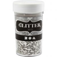 Glitter, str. 1-3 mm, sølv, 30 g/ 1 ds.