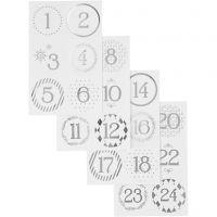 Kalendertal, diam. 40 mm, 9x14 cm, sølv, hvid, 4 ark/ 1 pk.