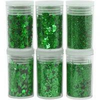 Glitter og pailletter, grøn, 6x5 g/ 1 pk.
