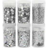 Glitter og pailletter, sølv, 6x5 g/ 1 pk.
