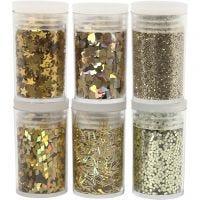 Glitter og pailletter, guld, 6x5 g/ 1 pk.
