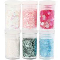 Glitter og pailletter, pastelfarver, 6x5 g/ 1 pk.