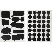 Tavlestickers, cirkler og talebobler, 14x18 cm, sort, 2 ass. ark/ 1 pk.