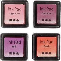 Stempelpude, H: 2 cm, str. 3,5x3,5 cm, fersken, pink, lys rosa, mørk rosa, 4 stk./ 1 pk.