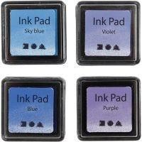 Stempelpude, H: 2 cm, str. 3,5x3,5 cm, blå, himmelblå, lilla, violet, 4 stk./ 1 pk.