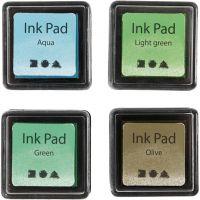 Stempelpude, H: 2 cm, str. 3,5x3,5 cm, grøn, lys grøn, oliven, aqua, 4 stk./ 1 pk.