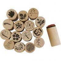 Deco Art stempelsæt, blomster og blade, H: 26 mm, diam. 20 mm, 15 stk./ 1 pk.