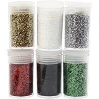 Glitter, ass. farver, 6x5 g/ 1 pk.