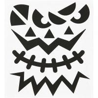 Stickers, halloween - store ansigter, 15x16,5 cm, 1 ark
