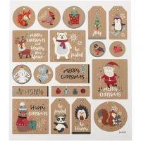 Stickers, julemærkater, 15x16,5 cm, 1 ark