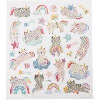 Stickers, unicorn katte, 15x16,5 cm, 1 ark
