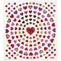 Stickers, små hjerter, 15x16,5 cm, 1 ark