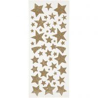 Glitterstickers, stjerner, 10x24 cm, guld, 2 ark/ 1 pk.