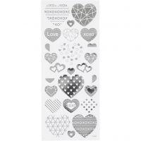 Stickers, hjerter, 10x24 cm, sølv, 1 ark