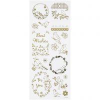 Stickers, fugle, 10x24 cm, guld, 1 ark