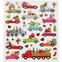 Stickers, kører hjem til jul, 15x16,5 cm, 1 ark