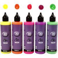3D Liner, neonfarver, 5x100 ml/ 1 pk.