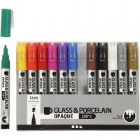 Glas- og porcelænstusch, streg 1-2 mm, halvdækkende, ass. farver, 12 stk./ 1 pk.