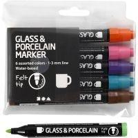 Glas- og porcelænstusch, streg 1-3 mm, halvdækkende, suppleringsfarver, 6 stk./ 1 pk.