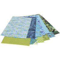 Decoupagepapir, 30x40 cm, blå, grøn, 12 ark/ 1 pk.