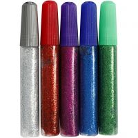 Glitterlim, ass. farver, 5x10 ml/ 1 pk.