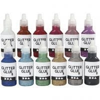 Glitterlim, ass. farver, 12x25 ml/ 1 pk.