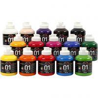 Skole akrylmaling blank, blank, ass. farver, 15x500 ml/ 1 ks.