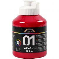 Skole akrylmaling blank, blank, primær rød, 500 ml/ 1 fl.