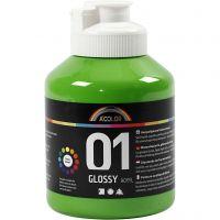 Skole akrylmaling blank, blank, lys grøn, 500 ml/ 1 fl.
