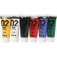 Skole akrylmaling mat, mat, standardfarver, 6x20 ml/ 1 pk.
