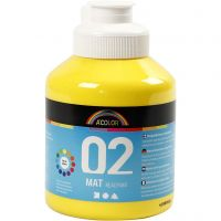 Skole akrylmaling mat, mat, primær gul, 500 ml/ 1 fl.