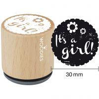 Træstempel, It's a girl, H: 35 mm, diam. 30 mm, 1 stk.
