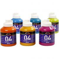 Skole akrylmaling glitter, glitter, ass. farver, 6x500 ml/ 1 ks.
