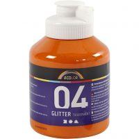Skole akrylmaling glitter, glitter, orange, 500 ml/ 1 fl.
